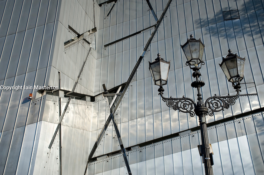 Detail of ornate lighting column and metallic walls of The Jewish Museum in Kreuzberg Germany