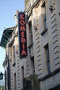 Sign for Komedia comedy club, Westgate Street, Bath, Somerset, England in former Beau Nash cinema.