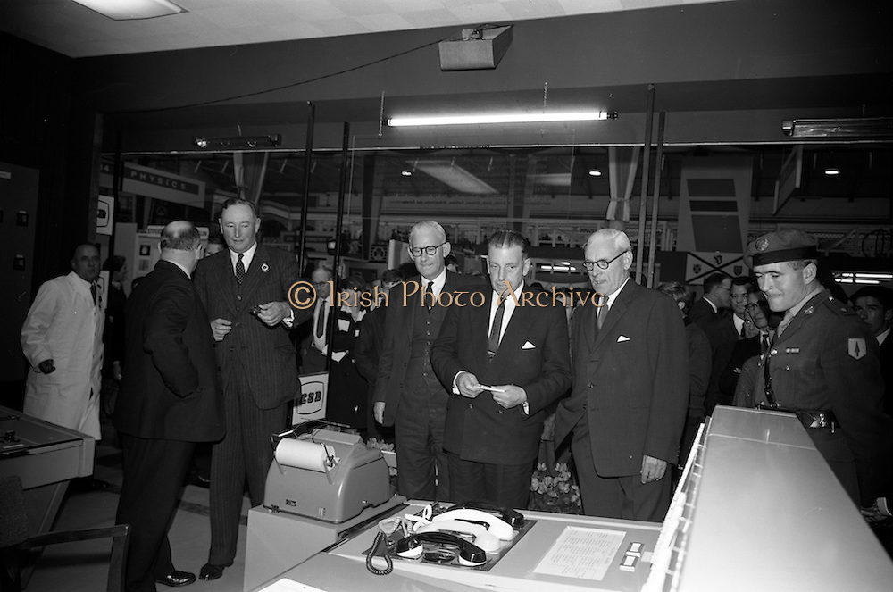 22/10/1963<br /> 10/22/1963<br /> 22 October 1963<br /> R.D.S. Scientific Exhibition opens. ESB stand at the exhibition. Taoiseach Sean Lemass third from right.