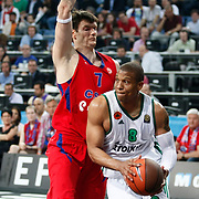 CSKA Moscow's Darjus Lavrinovic (L) and Panathinaikos's Mike Batiste (R) during their Euroleague Final Four semifinal Game 1 basketball match CSKA Moscow's between Panathinaikos at the Sinan Erdem Arena in Istanbul at Turkey on Friday, May, 11, 2012. Photo by TURKPIX