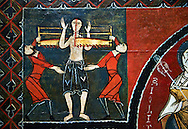 12th century Romanesque painted altar front from Saint Quirc de Durro, Val de Boi, Alta Ribagorca, Spain, showing scenes depicting the martyrdom of saints.  National Art Museum of Catalonia, Barcelona 1919-23. Ref: MNAC 15809. .<br /> <br /> If you prefer you can also buy from our ALAMY PHOTO LIBRARY  Collection visit : https://www.alamy.com/portfolio/paul-williams-funkystock/romanesque-art-antiquities.html<br /> Type -     MNAC     - into the LOWER SEARCH WITHIN GALLERY box. Refine search by adding background colour, place, subject etc<br /> <br /> Visit our ROMANESQUE SCULPTURE PHOTO COLLECTION for more   photos  to download or buy as prints https://funkystock.photoshelter.com/gallery/Romanesque-Statue-Sculptures-Pictures-Images/G0000ezFHYeF_xRI/C0000YpKXiAHnG2k