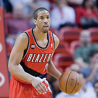 08 March 2011: Portland Trail Blazers point guard Andre Miller (24) brings the ball upcourt during the Portland Trail Blazers 105-96 victory over the Miami Heat at the AmericanAirlines Arena, Miami, Florida, USA.