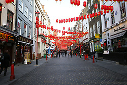 © Licensed to London News Pictures. 05/02/2020. London, UK. A less busy Chinatown in London at lunchtime following the outbreak of Coronavirus in Wuhan, China. At least 427 people have died from the virus and there have been over 20,000 confirmed cases, most of them in China. Photo credit: Dinendra Haria/LNP