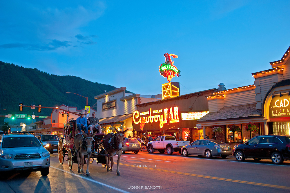 Visitors go for a ride in Jackson Hole, Wyoming