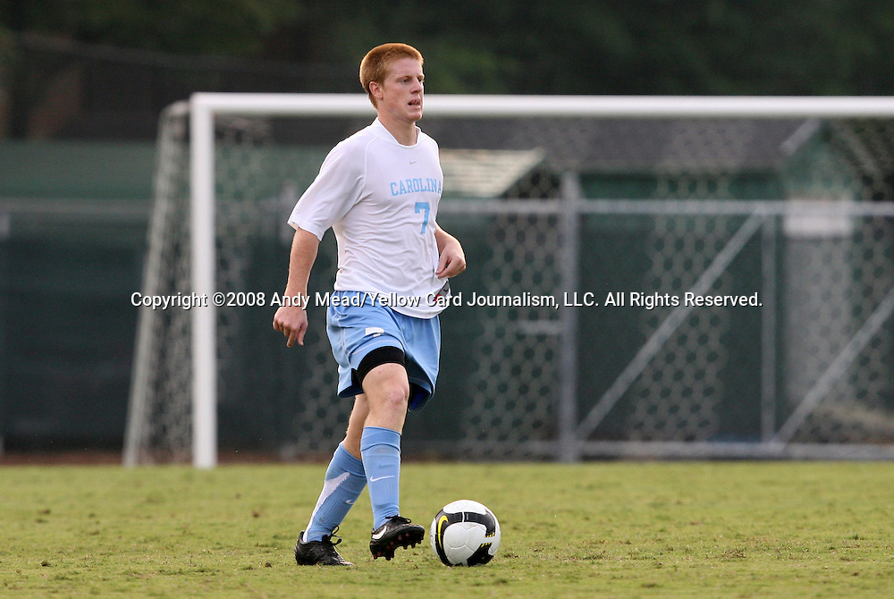 31 August 2008: UNC's Dustin McCarty. The University of North Carolina Tar Heels defeated the Virginia Commonwealth University Rams 1-0 in overtime at Fetzer Field in Chapel Hill, North Carolina in an NCAA Division I Men's college soccer game.