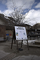Teton County Emergency Management COVID-19 information sign outside downtown post office, March 24, 2020