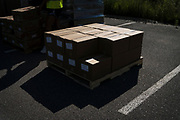 Boxes of groceries sit on pallets before being distributed at Prairie Winds Middle School in Mankato Minnesota, U.S., on Thursday, July 23, 2020. Photographer: Ben Brewer/Bloomberg
