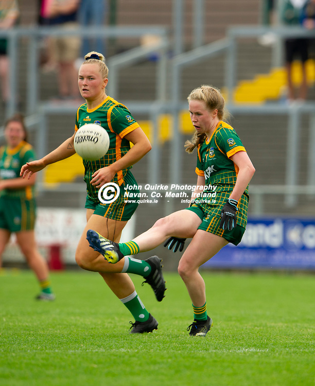 10-07-21. Meath v Cork - LGFA All-Ireland Senior Championship - Group 3 Round 1 at St. Brendan's Park, Birr.<br /> Stacey Grimes, Meath in action against Cork.<br /> Photo: John Quirke / www.quirke.ie<br /> ©John Quirke Photography, 16 Proudstown Road, Navan. Co. Meath. (info@quirke.ie / 046-9028461 / 087-2579454).
