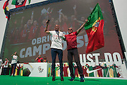Pepe speaking to the crowd of portuguese supporters at Alameda Dom Afonso Henriques, in Lisbon. Portugal's national squad won the Euro Cup the day before, beating in the final France, the organizing country of the European Football Championship, in a match that ended 1-0 after extra-time.