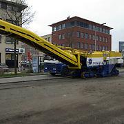 Bouw rotonde de Haar - Bovenmaatweg, freesmachine