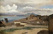 Vesuvius'  Landscape with sea and volcano  in background.