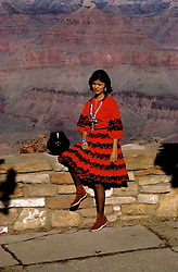 AZ, Arizona, Indian young woman, Navajo squash blossom necklace and jewelry, Santa Clara pottery bowl, Grand Canyon National Park, Arizona.Photo Copyright: Lee Foster, lee@fostertravel.com, www.fostertravel.com, (510) 549-2202.azgran208