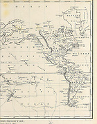 The world on Mercator Projection (Western Hemisphere New World) Copperplate engraving From the Encyclopaedia Londinensis or, Universal dictionary of arts, sciences, and literature; Volume VIII;  Edited by Wilkes, John. Published in London in 1810.