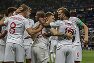 Kieran Trippier of England celebrates after his goal with teammates during the 2018 FIFA World Cup Russia, semi-final football match between Croatia and England on July 11, 2018 at Luzhniki Stadium in Moscow, Russia - Photo Thiago Bernardes / FramePhoto / ProSportsImages / DPPI