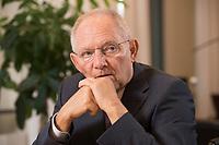 17 DEC 2014, BERLIN/GERMANY:<br /> Wolfgang Schaeuble, CDU, Bundesfinanzminister, waehrend einem Interview, in seinem Buero, Bundesministerium der Finanzen<br /> IMAGE: 20141217-01-007<br /> KEYWORDS: Wolfgang Schäuble