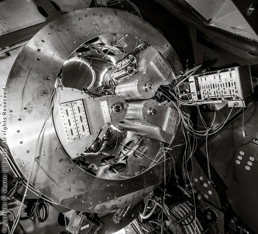 The Keck Array telescope from inside the telescope mount, with 2 receivers removed and 3 remaining, during upgrade of the telescope to the Bicep Array.