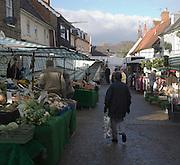 Market day in winter Saxmundham, Suffolk, England