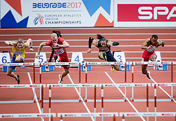 Alexander Brorsson of Sweden, Andreas Martinsen of Denmark, Pascal Martinot-Lagarde of France and Yidiel Contreras of Spain compete in the 60m Hurdles Men Heats on day one of the 2017 European Athletics Indoor Championships at the Kombank Arena on March 3, 2017 in Belgrade, Serbia. Photo by Vid Ponikvar / Sportida
