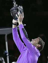 September 8, 2019, Flushing Meadows, New York, United States of America: Rafael Nadal holds his trophy for the Men Singles Finals match win against Daniil Medvedev on Day 14 of the 2019 US Open at USTA Billie Jean King National Tennis Center on Sunday September 8, 2019 in the Flushing neighborhood of the Queens borough of New York City. Nadal defeats Medvedev, 7-5, 6-3, 5-7, 4-6, 6-4. JAVIER ROJAS/PI (Credit Image: © Prensa Internacional via ZUMA Wire)