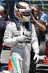 06.06.2015, Circuit Gilles Villeneuve, Montreal, CAN, FIA, Formel 1, Grand Prix von Kanada, Qualifying, im Bild Pole sitter Lewis Hamilton (GBR) Mercedes AMG F1 in parc ferme Formula One World Championship, Rd7, Canadian Grand Prix, Qualifying, Montreal, Canada, Saturday 6 June 2015. // during Qualifyings of the Canadian Formula One Grand Prix at the Circuit Gilles Villeneuve in Montreal, Canada on 2015/06/06. EXPA Pictures © 2015, PhotoCredit: EXPA/ Sutton Images/ Mark<br /> <br /> *****ATTENTION - for AUT, SLO, CRO, SRB, BIH, MAZ only*****