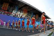 Beijing, CHINA.  A Final CHN JW4-, BowHong LIU, Yan HAN, Chun TIAN and Ru ZHOU, gold medallist. at  the  2007. FISA Junior World Rowing Championships,  Shunyi Water Sports Complex. 11/08/2007 [Mandatory Credit Peter Spurrier/Intersport Images]..... , Rowing Course, Shun Yi Water Complex, Beijing, CHINA,