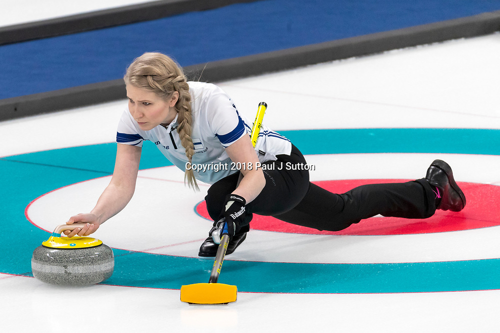 Oona Kauste (FIN) competing in the Mixed Doubles Curling round robin at the Olympic Winter Games PyeongChang 2018