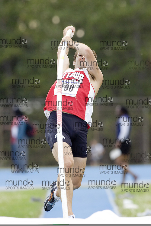 James Holder competing in the pole vault at the 2007 OTFA Junior-Senior Championships held in Ottawa from 30 June to July 1.
