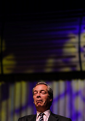 © Licensed to London News Pictures. <br /> 20/06/2016. <br /> Gateshead, UK.  <br /> <br /> UKIP leader Nigel Farage reacts as he answers questions at a public meeting on the European Union referendum held by the Leave campaign at the Sage building in Gateshead. <br /> <br /> The meeting was held to try and persuade voters to vote leave in the European Referendum when the country goes to the polls on June 23rd.  <br /> <br /> Photo credit: Ian Forsyth/LNP