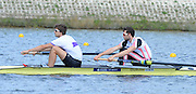 Reading. United Kingdom.  GBR M2-.  Bow. Matthew GOTREL and Paul BENNETT, in the opening strokes of the morning time trial. 2014 Senior GB Rowing Trails, Redgrave and Pinsent Rowing Lake. Caversham.<br /> <br /> 11:08:33  Saturday  19/04/2014<br /> <br />  [Mandatory Credit: Peter Spurrier/Intersport<br /> Images]