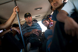 Migrants take vans and pickups from Altar, Sonora that will drop them off near the border.  Altar is the starting point for many migrants' journeys to the US. In Altar they find guides and coyotes to take them across the border.  The town's economy is nearly entirely dependent on the migrants. Recently drug cartels have become involced in the smuggling of people, using the same routes as the drugs and charging the migrants an exit tax to leave the country.