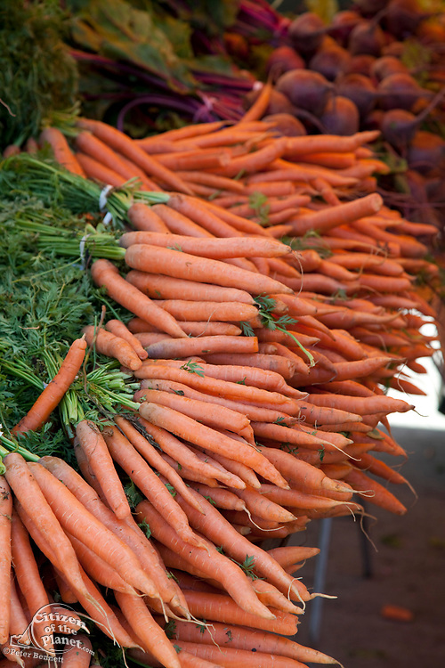 Carrots at the Culver City Farmer's Market Tuesday afternoons, Culver City, Los Angeles, California, USA