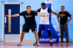 Bristol Flyers head coach Andreas Kapoulas and Panos Mayindombe of Bristol Flyers - Mandatory by-line: Robbie Stephenson/JMP - 17/09/2019 - BASKETBALL - SGS Arena - Bristol, England - Bristol Flyers Open Training Session