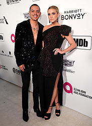 Evan Ross and Ashlee Simpson attending the Elton John AIDS Foundation Viewing Party held at West Hollywood Park, Los Angeles, California, USA.
