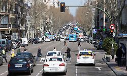 THEMENBILD - eine stark befahrene Straße. Die Stadt Madrid ist eine der größten Metropolen in Europa. Sie liegt im Zentrum der iberischen Halbinsel und ist Hauptstadt von Spanien. Aufgenommen am 25.03.2016 in Madrid ist Spanien // Madrid is on of the biggest metropolis in Europe. It is located in the center of the Iberian Peninsula and is the capital of Spain. Spain on 2016/03/25. EXPA Pictures © 2016, PhotoCredit: EXPA/ Jakob Gruber