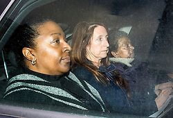© London News Pictures. 12/02/2016. London, UK. Sian Blake family members AVA BLAKE(L) and PANSY BLAKE (R), sister and mother, of the murdered actress arrive at Westminster Magistrates Court where suspect ARTHUR SIMPSON-KENT is expected to appear later. Kent was arrested on suspicion of murdering former Eastenders actress Sian Blake when he landed at Heathrow airport after being extradited from Ghana where he was originally apprehended. Photo credit: Ben Cawthra/LNP