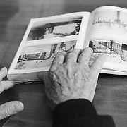 VENICE, ITALY - APRIL 03:  A black and white picture with details of the hands  of ÊAuschwitz Survivor Antonio Boldrin seen on top of  a book about Auschwitz  on April 3, 2012 in Venice, Italy. Sentenced to death and already in front of the execution fire squad Boldrin was rescued by the Russian Army and was one of the few lucky prisoners that managed to survive the concentration camp.  (Photo by Marco Secchi/Getty Images)