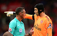 Petr Cech , the goalkeeper of Arsenal talks to referee Andre Marriner. Premier league match, Stoke City v Arsenal at the Bet365 Stadium in Stoke on Trent, Staffs on Saturday 19th August 2017.<br /> pic by Bradley Collyer, Andrew Orchard sports photography.