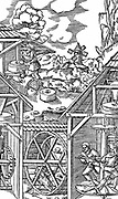 Crushing gold bearing ores in mills similar in principle to flour mills. Bottom left goats in treadmill; horizontal power transferred to mill, A, through crown-and-pinion.  Bottom right men turn capstan and power transferred through tooth-and-pinion. From Agricola 'De re metallica' Basle 1556. Woodcut.