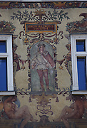 Detail of the Wiehl House build in 1896 in Wencslas Square Prague, Czech Republic. The five-storey Neo-Renaissance style is decorated with aloggia and colorful sgraffito.