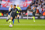 Manchester City forward Gabriel Jesus (33) and Brighton & Hove Albion midfielder Anthony Knockaert (11) during the The FA Cup semi-final match between Manchester City and Brighton and Hove Albion at Wembley Stadium, London, England on 6 April 2019.