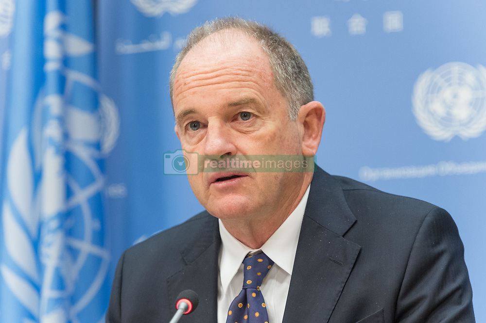 April 26, 2017 - New York, NY, United States - In conjunction with his two days of meetings with United Nation Security Council, David Shearer, Special Representative of the UN Secretary-General and head of the UN Mission in South Sudan (UNMISS), held a press conference at UN Headquarters in New York. Mr. Shearer who was appointed by past UN Secretary-General Ban Ki-moon in December of 2016 replaced  Ellen Margrethe Løj who had held the post since July of 2014. (Credit Image: © Albin Lohr-Jones/Pacific Press via ZUMA Wire)