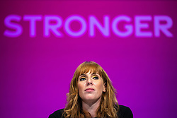 © Licensed to London News Pictures. 25/09/2021. Brighton, UK. Deputy Labour Leader ANGELA RAYNER at the conference . The first day of the 2021 Labour Party Conference , which is taking place at the Brighton Centre . Photo credit: Joel Goodman/LNP