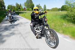 Jim Jansson riding his 2004 Harley-Davidson 1200 cc Sportster on a Twin Club ride out from the club house in Norrtälje after their annual Custom Bike Show. Sweden. Sunday, June 2, 2019. Photography ©2019 Michael Lichter.