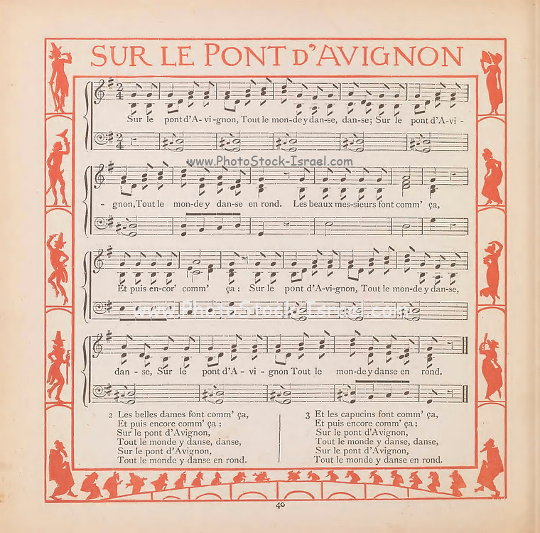 Sur le Pont d'Avignon Sheet Music From the Book ' The baby's bouquet : a fresh bunch of old rhymes & tunes ' by Crane, Walter, 1845-1915; Crane, Lucy, 1842-1882; Evans, Edmund, 1826-1905; Publisher  George Routledge and Sons (London and New York) 1878