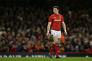 Josh Adams of Wales looks on. Wales v Scotland, NatWest 6 nations 2018 championship match at the Principality Stadium in Cardiff , South Wales on Saturday 3rd February 2018.<br /> pic by Andrew Orchard, Andrew Orchard sports photography