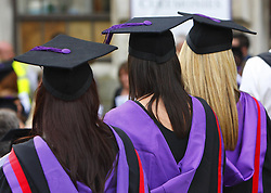 File photo dated 16/07/08 of university graduates as universities have been given the go-ahead to charge up to 20% more a year for shorter degree courses under Government plans - but students will be left with a smaller overall bill.
