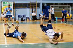 Jan Planinc and Klemen Hribar of Calcit Kamnik chasing a ball during CEV cup 1/16 volleyball game between Calcit Kamnik and Aquacare Halen on October 19, 2011 at Sportna dvorana, Kamnik, Slovenia. (Photo By Matic Klansek Velej / Sportida)