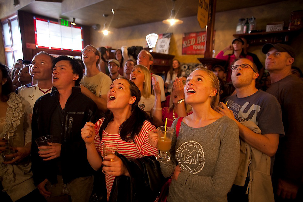 Crowds of spectators watch the World Cup soccer match between England and the USA from Conor O'Neill's pub in Boulder, Colorado on June 12, 2010. The match ended in a 1-1 tie.
