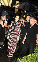 May 3, 2018 - New York City, New York, U.S. - Model KENDALL JENNER arrives during a downpour during the Longchamp Fifth Ave Opening. (Credit Image: © Nancy Kaszerman via ZUMA Wire)