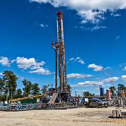Cogan Station, PA, USA - July 14, 2011: Marcellus Shale Gas Drilling Rig during construction of a well in Northern Pennsylvania.